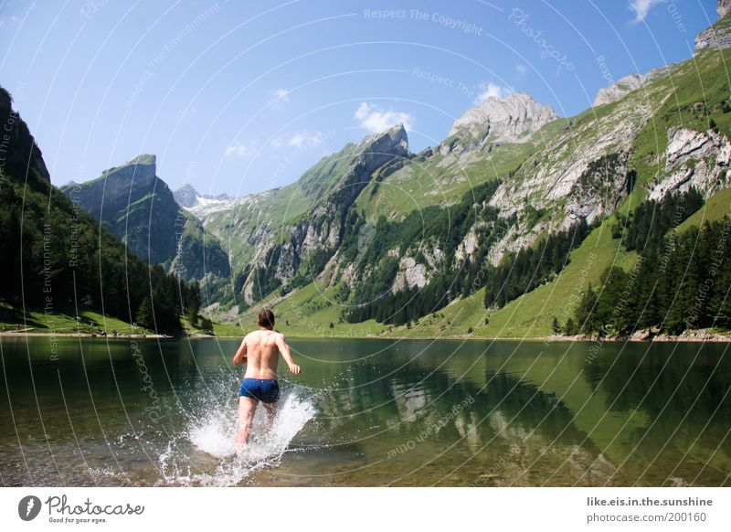 Nature Youth (Young adults) Water Green Summer Joy Vacation & Travel Cold Mountain Lake Landscape Legs Healthy Adults Walking Wet