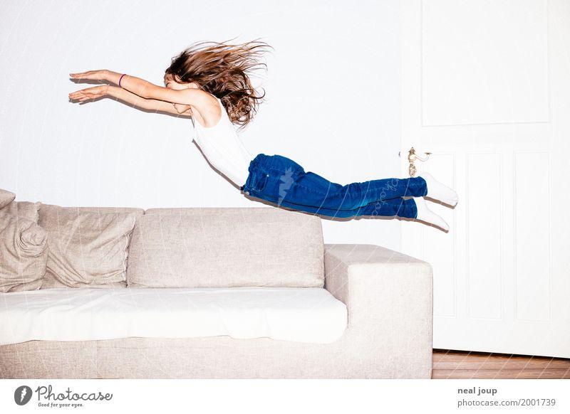 Child Blue White Joy Funny Feminine Flying Jump Wild Living or residing Infancy Happiness Crazy Speed Joie de vivre (Vitality) Infinity