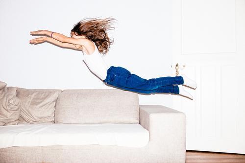 flying high Feminine Child 8 - 13 years Infancy Jeans Brunette Long-haired Flying Jump Brash Happiness Infinity Funny Speed Crazy Wild Blue White Joy
