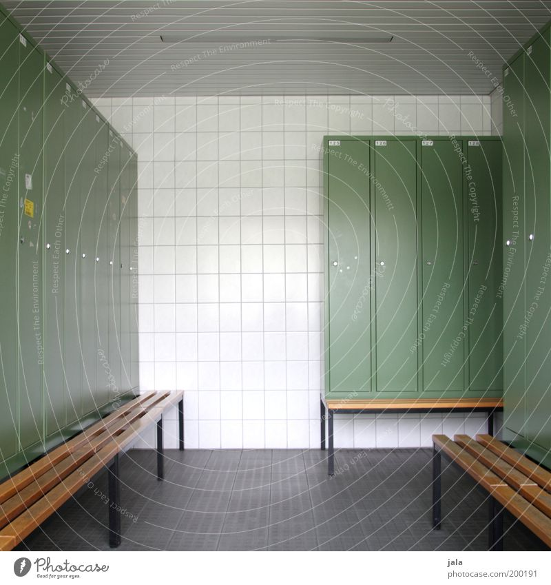 I'm going to the sport... Sporting Complex Locker Bench Clean Changing room Lockbox Arrangement Puristic Colour photo Interior shot Deserted Central perspective
