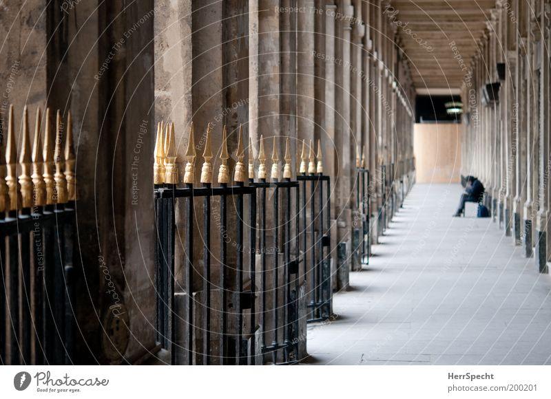 Human being Calm Black Architecture Building Gray Brown Gold Perspective Fence Landmark Tourist Attraction Row Paris Column Corridor