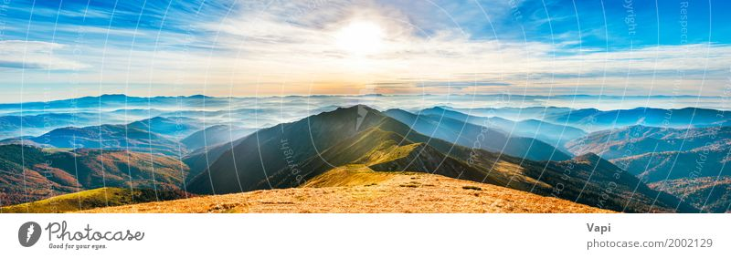 Panorama of mountain landscape at sunset Vacation & Travel Tourism Trip Summer Summer vacation Sun Mountain Wallpaper Environment Nature Landscape Plant Sky