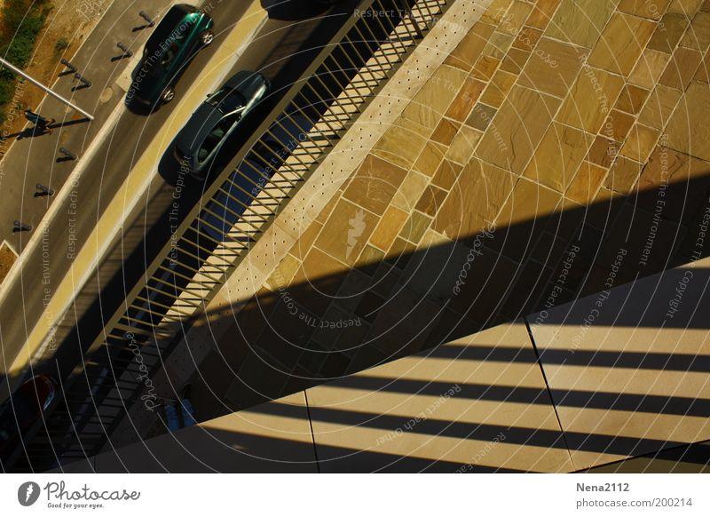 lunch break Shadow Sun Street Road traffic Car Town Line Balcony Roof beams Legs Break Lunch hour Triangle Geometry
