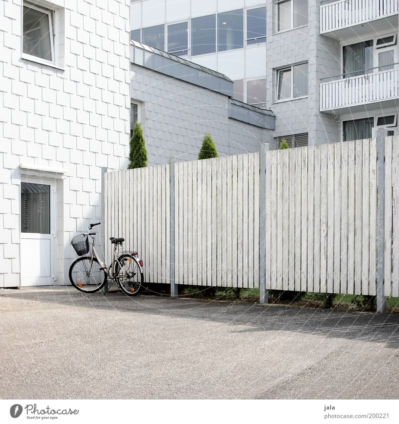 parking space Plant House (Residential Structure) Manmade structures Building Architecture Facade Balcony Window Door Bicycle Esthetic Clean Gray White