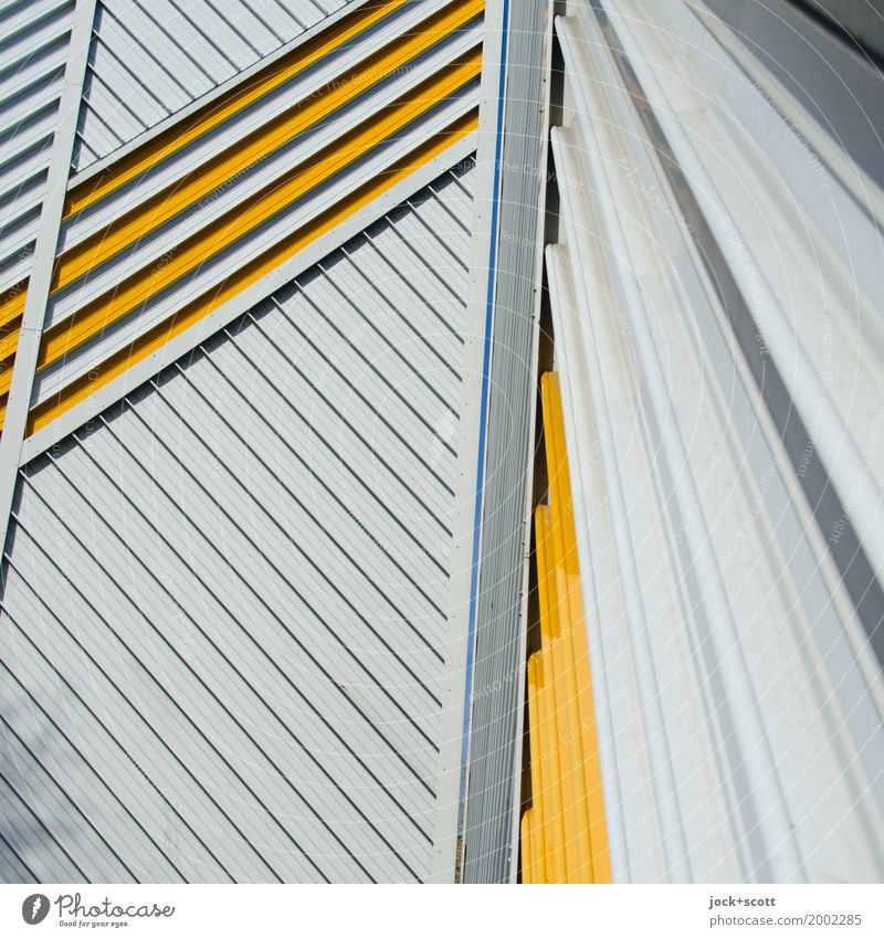 Only lines 1 Architecture Berlin Facade Fire wall Decoration Metal Line Stripe Network Esthetic Sharp-edged Modern Many Moody Power Acceptance Disciplined