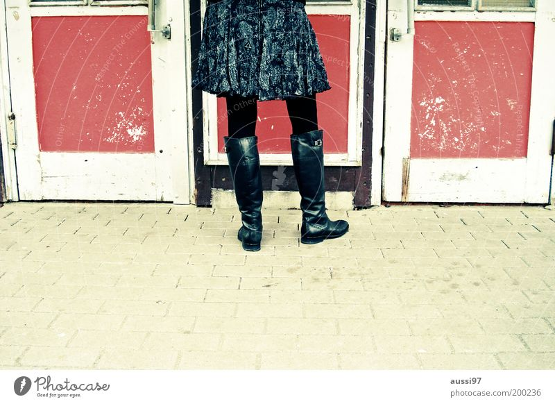Woman Old Door Gastronomy Lady Skirt Sidewalk Entrance Boots Leather Tights Anonymous Varnish Footwear Archaic Transport