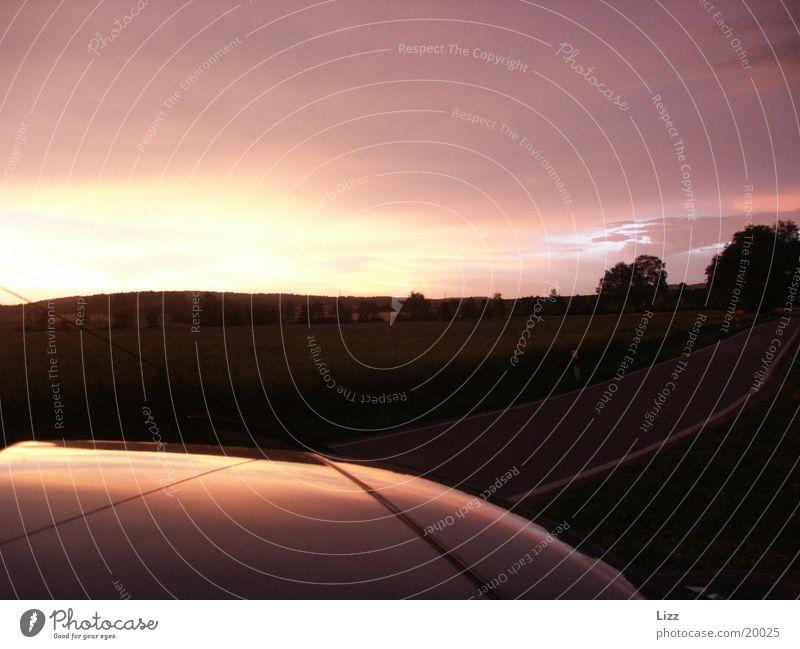 car roof Car roof Evening Horizon Transport Thunder and lightning Dusk