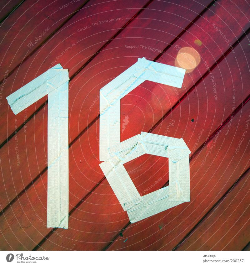 sweet Feasts & Celebrations Birthday Wood Digits and numbers Line Crazy Red Adhesive tape 16 House number Colour photo Exterior shot Close-up Pattern