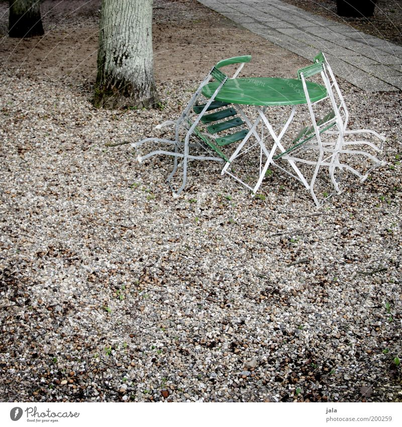 Green Park Table Closed Gloomy Chair Restaurant Café Tree trunk Beer garden Plant Closing time Garden table Gravel path Off-Season