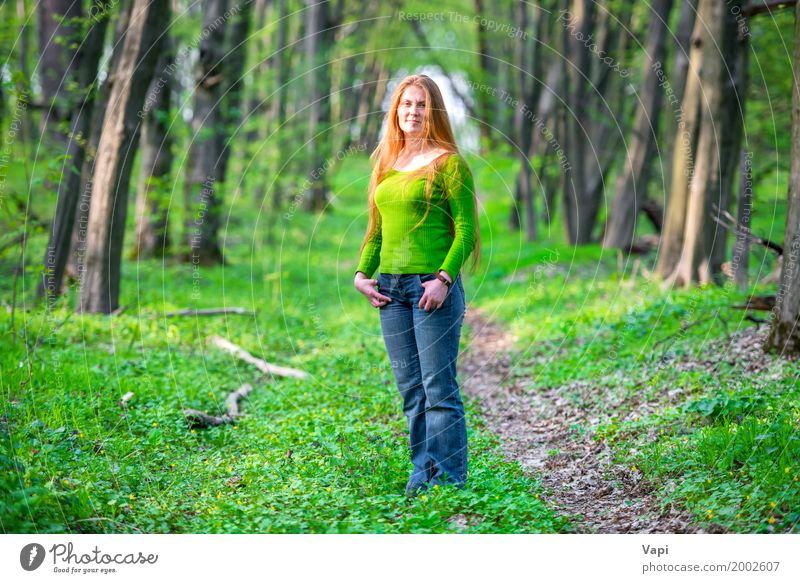 Pretty happy woman with red long hair Human being Woman Nature Youth (Young adults) Blue Summer Young woman Beautiful Green Tree Red Joy Forest 18 - 30 years