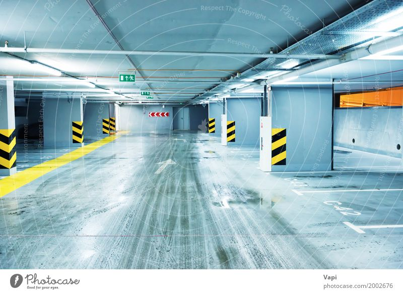 Empty underground parking Blue Town White Black Yellow Wall (building) Building Wall (barrier) Business Lamp Group Orange Line Park Transport Office
