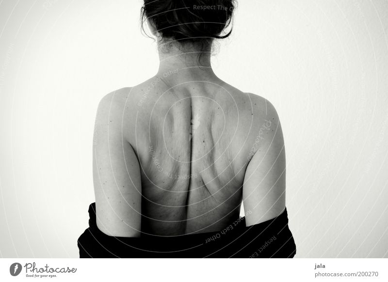 winter bacon Human being Feminine Woman Adults Body Back 1 Fat Naked Natural Brave Acceptance Overweight Black & white photo Interior shot Neutral Background