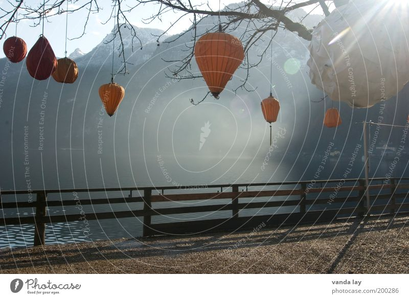 Water Tree Autumn Mountain Lake Moody Orange Fog Decoration Branch Alps Lantern Fence Lakeside Terrace Shadow