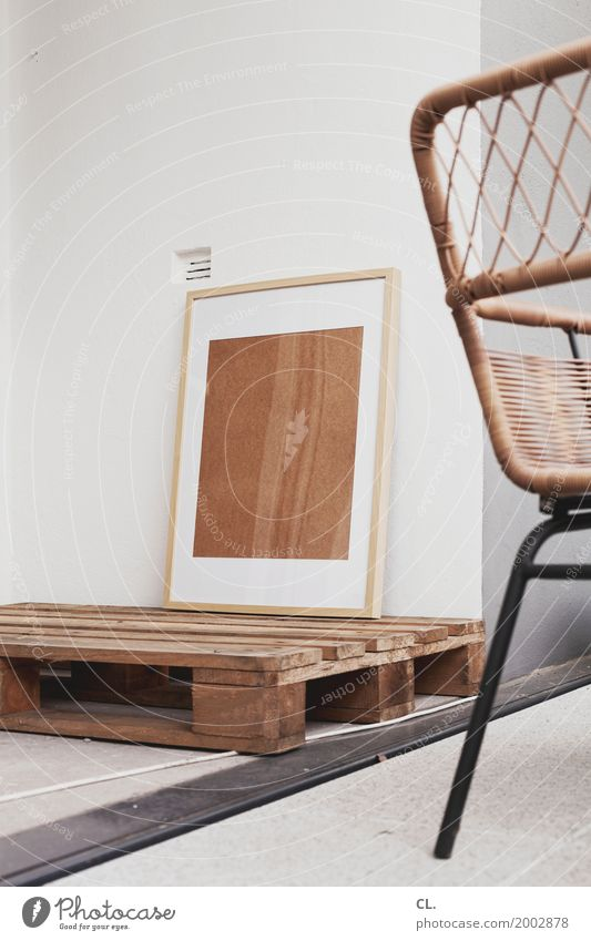 picture frame on pallet on cable on balcony Living or residing Flat (apartment) Redecorate Moving (to change residence) Arrange Interior design Decoration