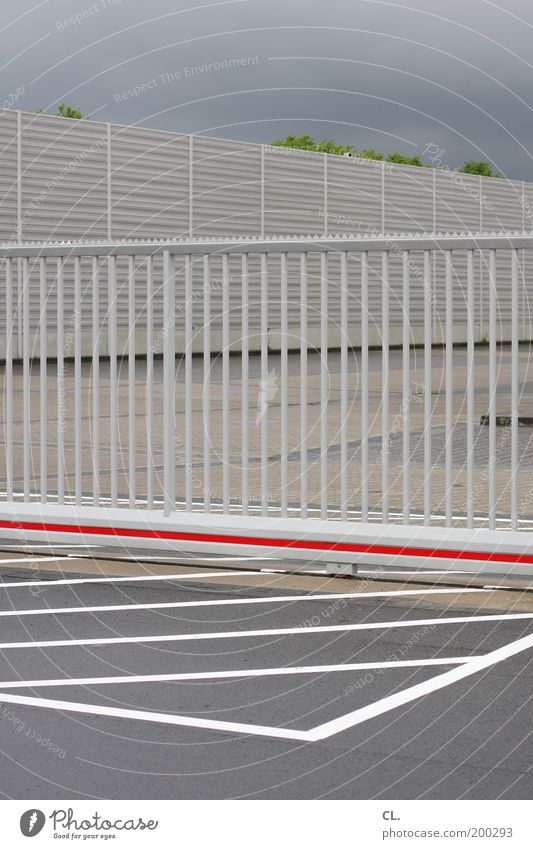 Sky Clouds Gray Line Closed Arrangement Places Perspective Safety Gate Fence Border Boredom Barrier Parking lot Symmetry