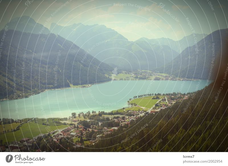 Aerial view over the Achensee lake in tyrol/ Austria. Vacation & Travel Summer Nature Retro rofan mountain Federal State of Tyrol alps landscape blue sky