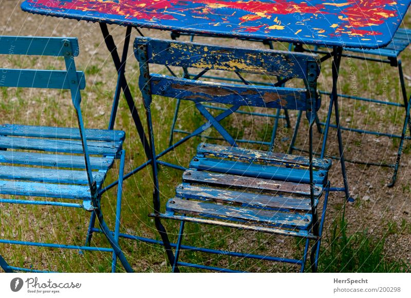 Blue Red Garden Wood Drops of water Wet Table Chair Derelict Beer garden Gastronomy Water Folding chair Garden chair Garden table Layer of paint