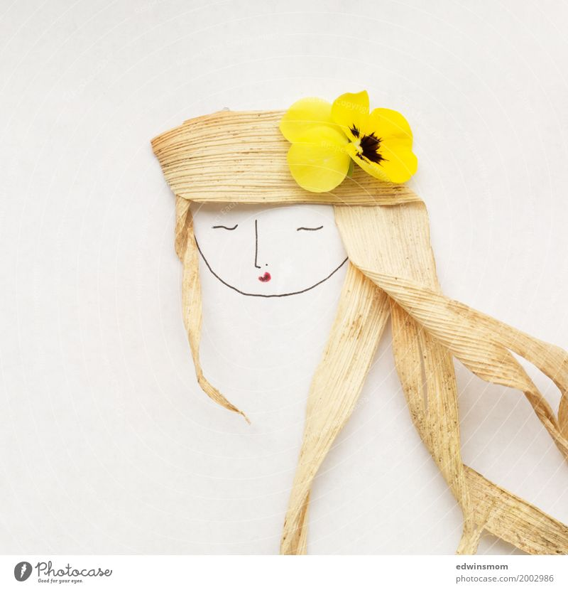 flowerinherhair Leisure and hobbies Handicraft Feminine Nature Plant Flower Blossom Long-haired Decoration Sleep Bright Beautiful Curiosity Wild Soft Yellow