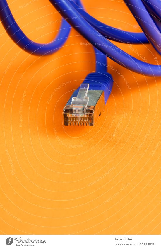 Blue Relaxation Orange Office Computer Future Cable Network Internet Information Technology Computer network Workplace Online Interlaced Advancement Connector