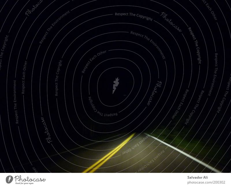 Yellow Street Line Fear Road traffic Signs and labeling Speed Driving USA Threat Highway Creepy Motoring Surrealism Floodlight Montana