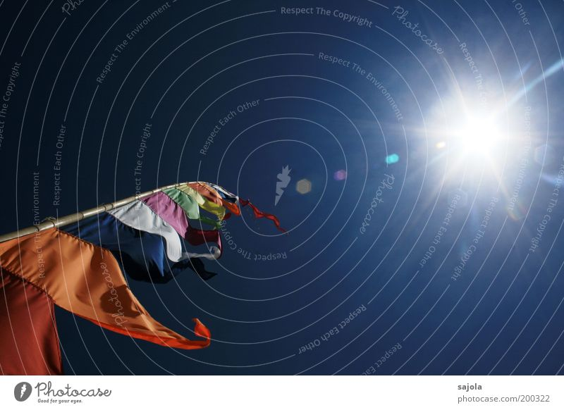 Sky White Sun Green Blue Red Movement Orange Wind Flag Illuminate Beautiful weather Energy Light Flagpole Lens flare