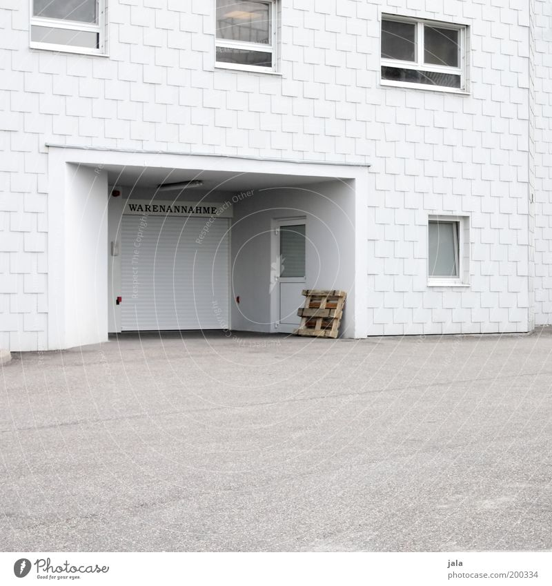 acceptance of goods Trade Services House (Residential Structure) Factory Building Architecture Window Door Clean White Storage Colour photo Subdued colour