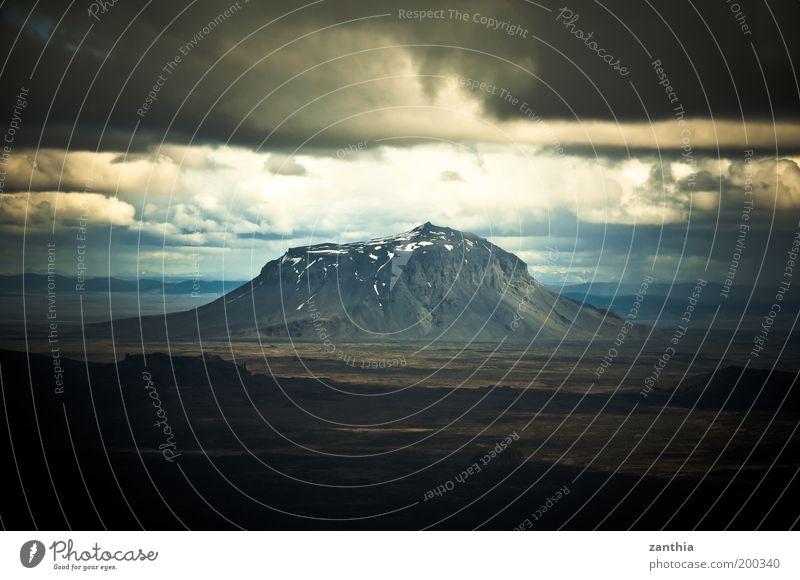 Herðubreið Nature Landscape Elements Earth Sky Clouds Storm clouds Horizon Sunlight Summer Mountain Peak Snowcapped peak Stone Illuminate Old Brown Black White