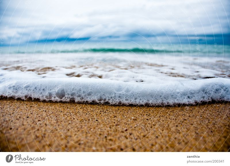 vacation Far-off places Summer vacation Beach Ocean Nature Sand Water Sky Clouds Horizon Autumn Waves Coast Wet Blue Gold White Relaxation Vacation & Travel
