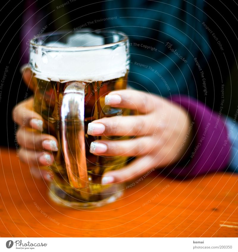 Human being Woman Youth (Young adults) Hand Adults Feminine Food Feasts & Celebrations Glass Fingers Beverage Young woman Drinking To hold on Beer Joie de vivre (Vitality)