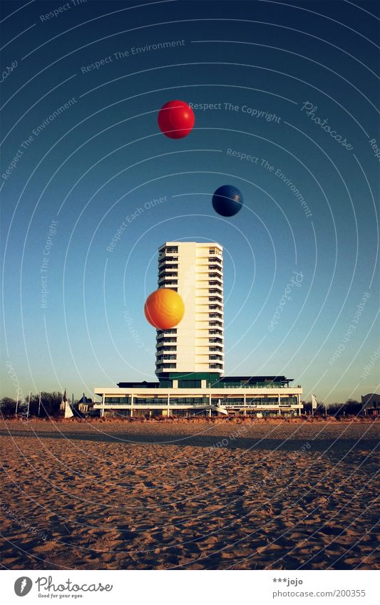 Beach Colour Playing Building Sand Architecture Flying Concrete High-rise Facade Modern Ball Hotel Sphere Hover