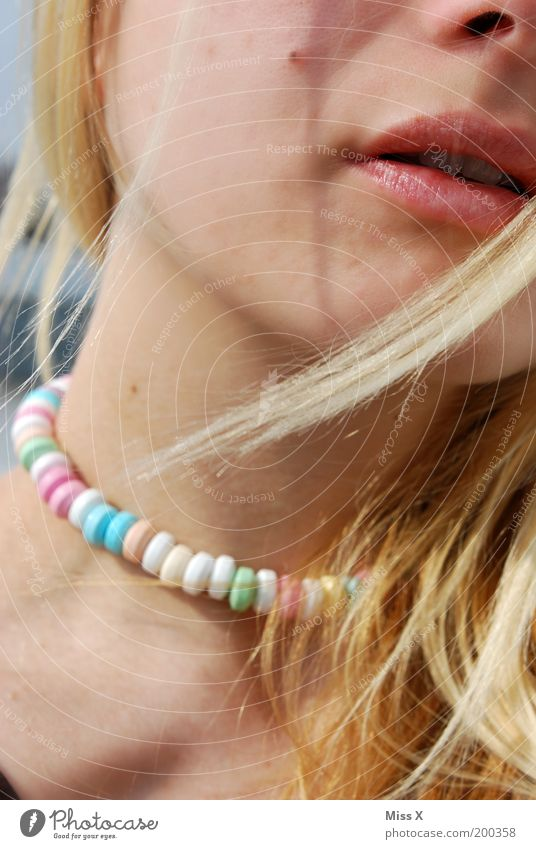 Youth (Young adults) Beautiful Hair and hairstyles Mouth Adults Food Sweet Lips Delicious Candy Woman Necklace Section of image Young woman Colour Pearl necklace