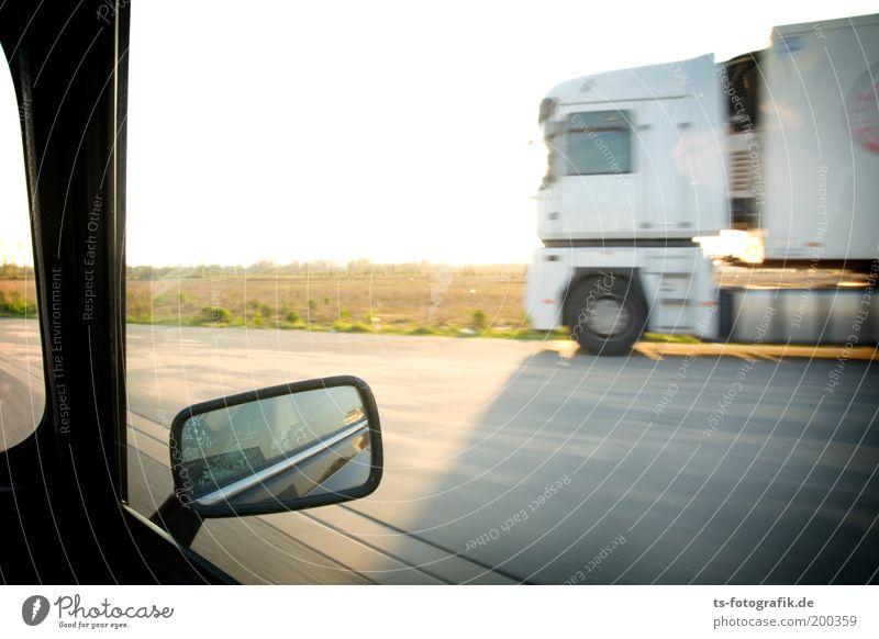 Street Car Transport Speed Threat Driving USA Desert Logistics Mirror Highway Truck Surprise Americas Vehicle Motoring
