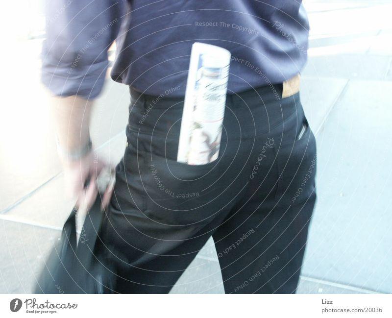 pose Posture Newspaper Man black jeans Hind quarters Business Businessman