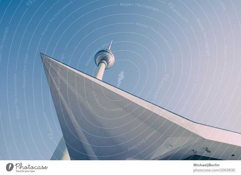 Berlin television tower, geometric structures Capital city Manmade structures Building Architecture Tourist Attraction Landmark Television tower Town Blue
