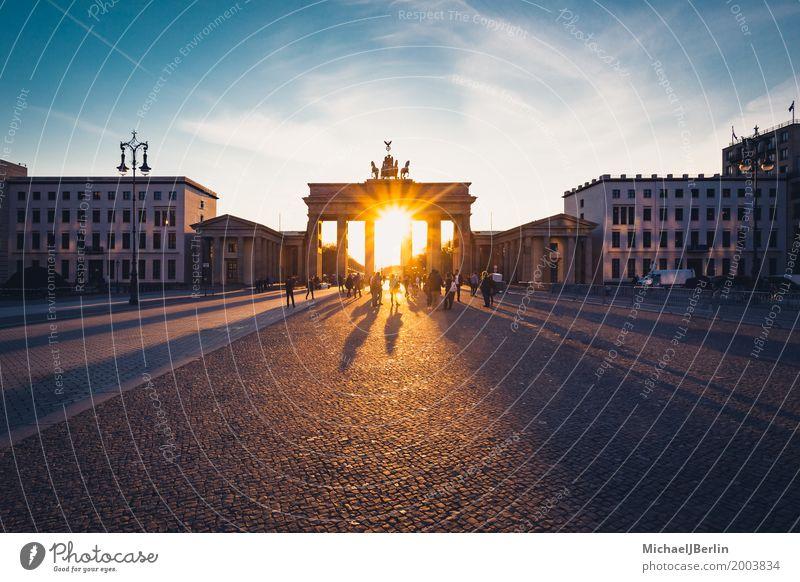 Brandenburg Gate backlit at sunset Sightseeing City trip Berlin Pariser Platz Town Capital city Downtown Manmade structures Architecture Tourist Attraction