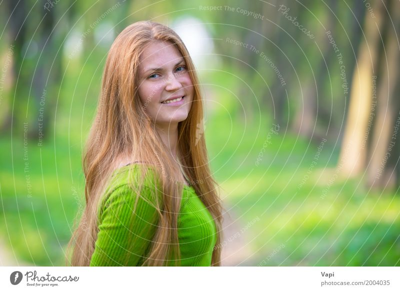 Pretty happy woman with red long hair Human being Woman Nature Youth (Young adults) Summer Young woman Beautiful Green White Red Joy Forest 18 - 30 years Face