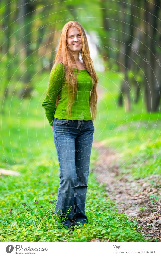 Pretty happy woman with red long hair Human being Woman Nature Youth (Young adults) Blue Summer Young woman Beautiful Green White Tree Red Joy Forest