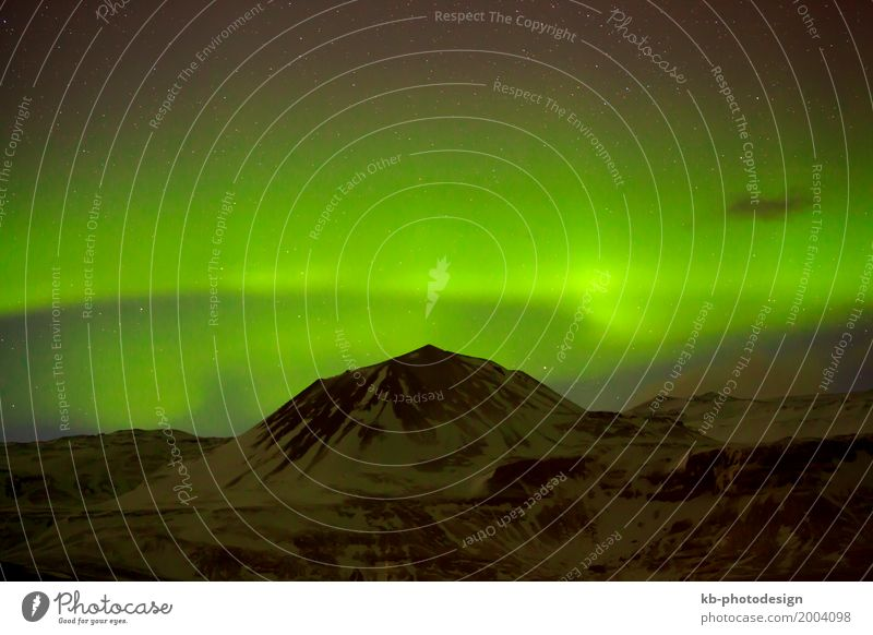 Green Northern lights in Iceland Aurora Borealis Illuminate Vacation & Travel northern lights Starling Natural phenomenon clouds astrology motion mountain