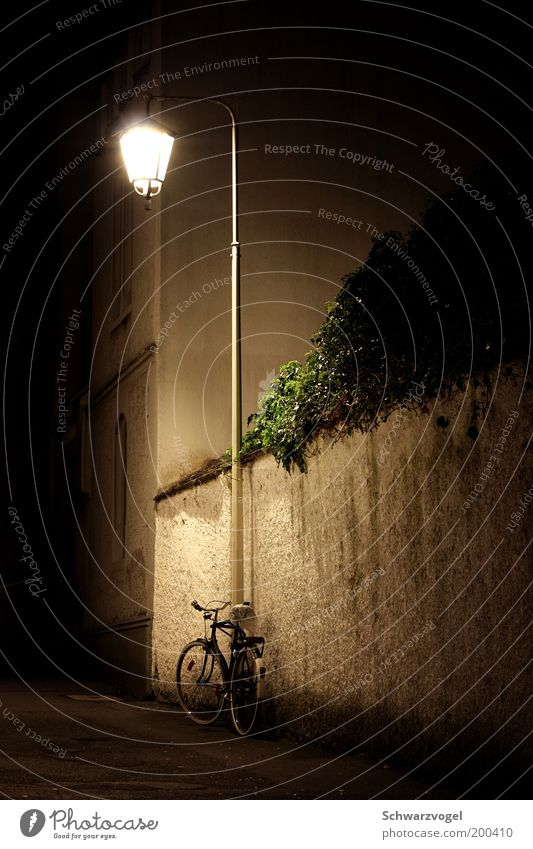 Old Calm Loneliness Lamp Wall (barrier) Moody Bicycle Stand Authentic Illuminate Lantern Safety (feeling of) Street lighting Alley Stagnating Old town