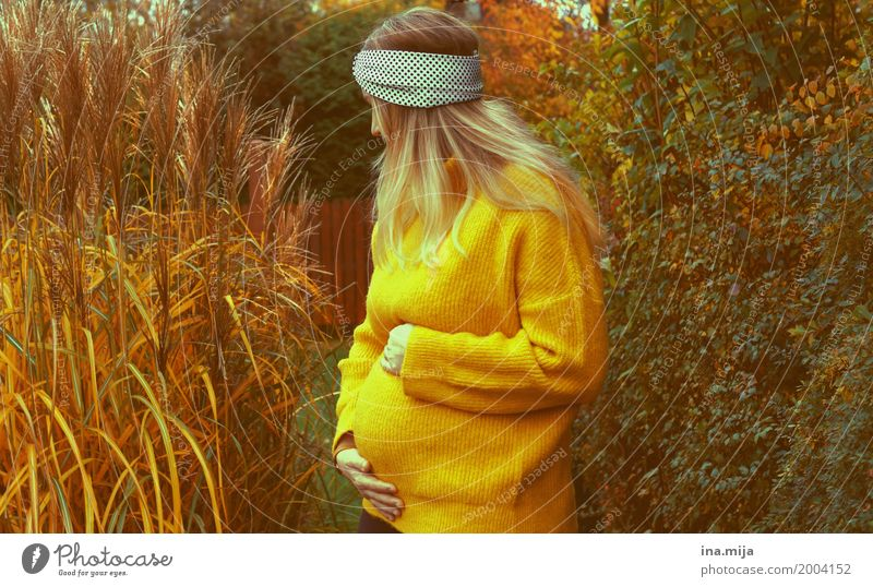 <3 Human being Feminine Woman Adults Mother Life Stomach 1 2 Environment Nature Autumn Sweater Headband Pregnant Yellow Happy Together Growth Mother's Day