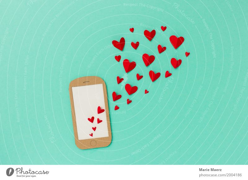 Red To talk Love Emotions Happy Exceptional Design Communicate Creativity Heart Romance Illustration Write Cellphone Turquoise PDA