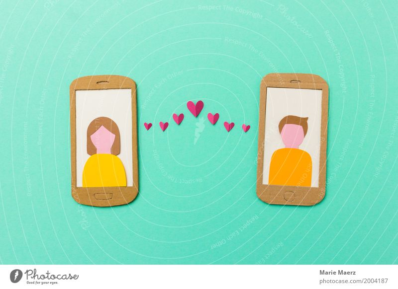 Human being Youth (Young adults) Young woman Young man Love Style Happy Couple Design Modern Communicate Write Hip & trendy Cellphone Turquoise Relationship