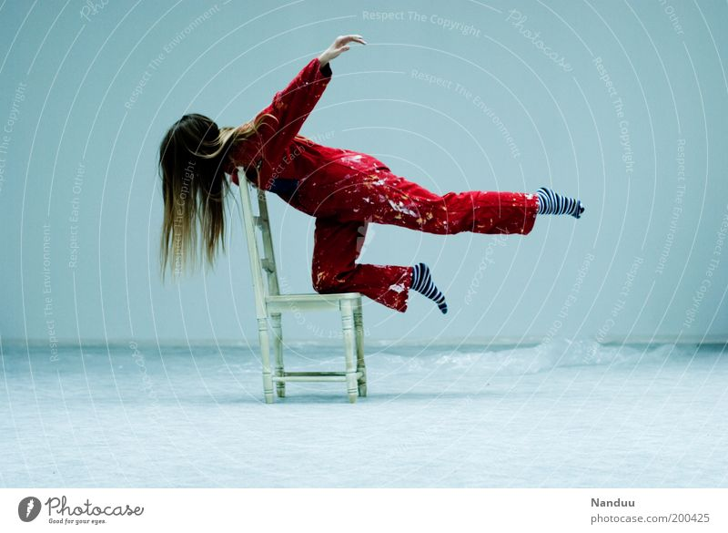Human being Red Feminine Flying Chair Whimsical Athletic Hover Patch Surrealism Yoga Furniture Dappled Working clothes Seating Light