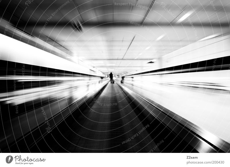 Human being White Vacation & Travel Dark Movement Elegant Stairs Esthetic Speed Perspective Lifestyle Driving Black & white photo Tunnel Trashy Stress