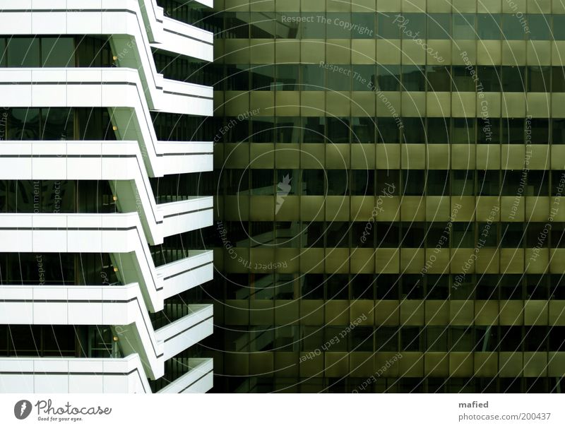 escape route Industry Deserted House (Residential Structure) High-rise Manmade structures Building Architecture Stairs Facade Balcony Window Brown Green Black