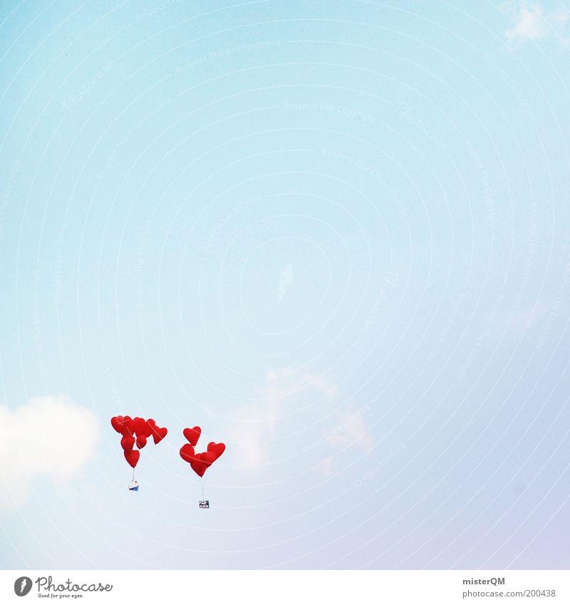 Sky Red Love Air Heart Elegant Beginning Future Esthetic Decoration Balloon Hope Desire Sign Peace Belief