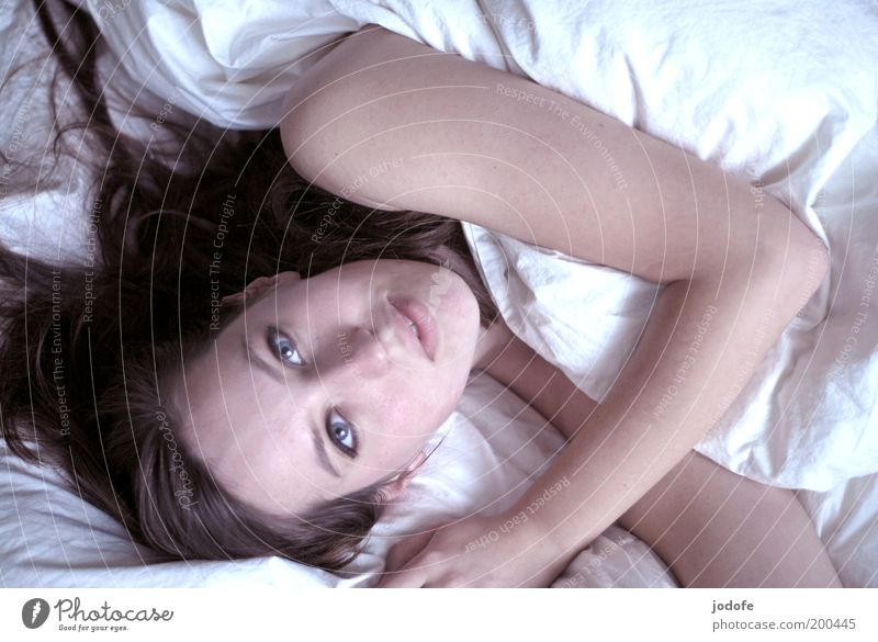 Woman Human being Youth (Young adults) White Calm Relaxation Feminine Bright Adults Arm Bed Lie Longing Cozy Smiling Furniture