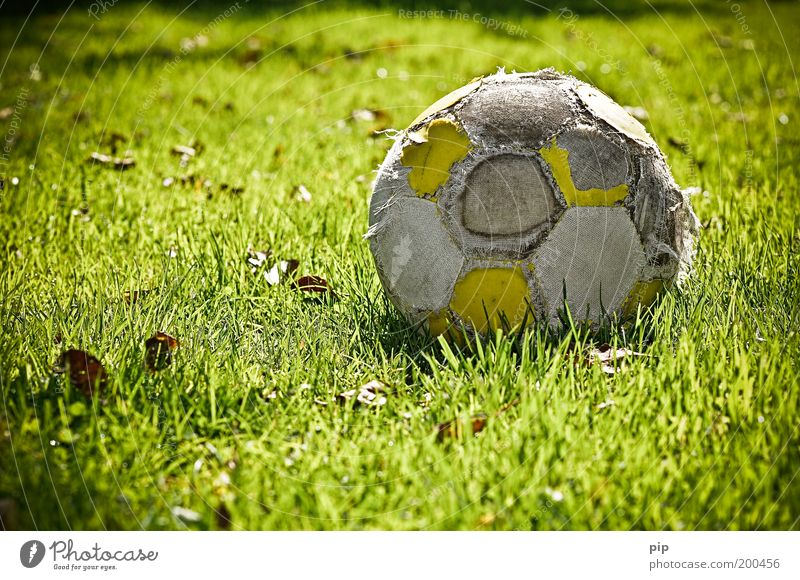 the last kick Sports Leisure and hobbies Foot ball Ball Nature Grass Grass surface Old Broken Green Loneliness Nostalgia Transience Subdued colour