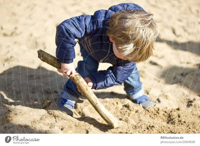 At work Human being Masculine Child Toddler Boy (child) Infancy 1 1 - 3 years Sand Jeans Jacket Hair and hairstyles Playing Authentic Dirty Small Natural Blue