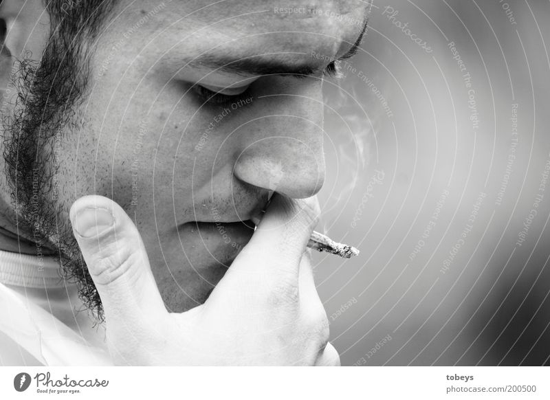 Youth (Young adults) Loneliness Emotions Freedom Sadness Think Adults Masculine Lifestyle Grief Portrait photograph Smoking Longing Pain Black & white photo